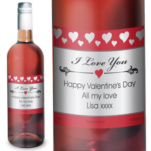 Personalised Hearts I Love You Rose Wine